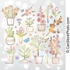 doodle, flores, cobrança, esboço, jardim