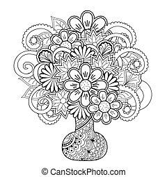 doodle, flores, vaso