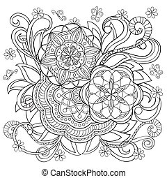 doodle flower and mandalas - Hand drawn monochrome print...