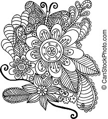 Doodle Flowers and Butterfly Vector