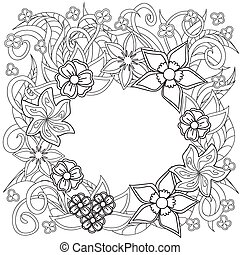 doodle flowers and herb - Hand drawn decorated image with...