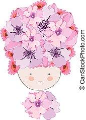 Doodle flowers beautiful girl face