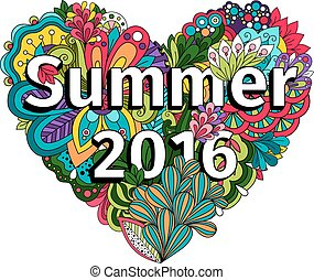 Doodle flowers heart with Summer 2016 text