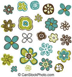 doodle flowers set, vector illustration