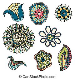 doodle flowers vector illustration