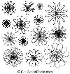 doodle, flowers., vetorial, pretas