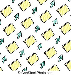 doodle folder file with arrow cursor background