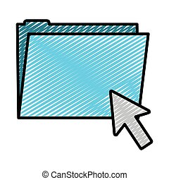 doodle folder file with arrow cursor mouse