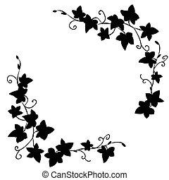 doodle, folhas, pretas, hera, padrão