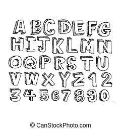 Doodle font  hand draw illustration design
