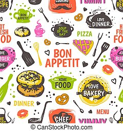 Doodle food pattern. Menu seamless background, vector hand drawn restaurant and cafe poster with sketch kitchen elements