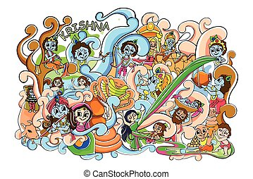 Doodle for Happy Janmashtami wallpaper background