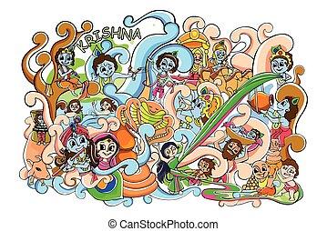 Doodle for Happy Janmashtami wallpaper background