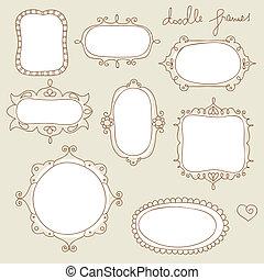 Doodle frame collection - Set of handdrawn, vintage frames
