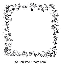 doodle frame elements with flowers and birds
