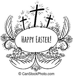 Doodle frame Happy easter with three crosses