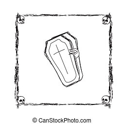 doodle frame on Halloween theme with coffin