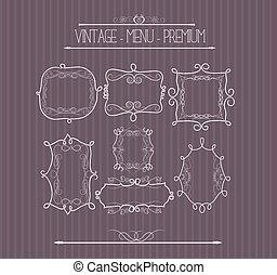 doodle, frame, sierlijk, callgraphic