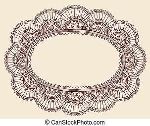 doodle, frame, vector, henna, kant