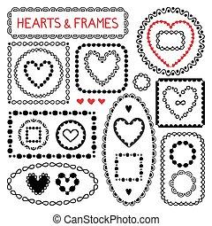 doodle, frames., serca