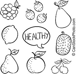 Doodle fruit hand draw collection