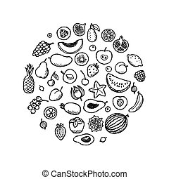 doodle, fruit, set