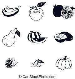 doodle fruit sketch black and white drawing