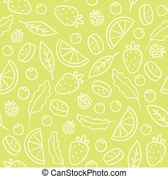 Doodle fruits and berries green seamless pattern