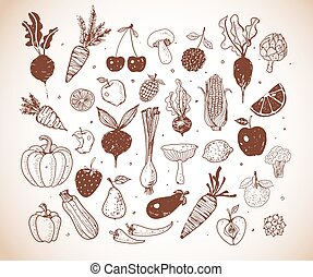 Doodle fruits and vegetables. Vector sketch illustration of healthy food in vintage style