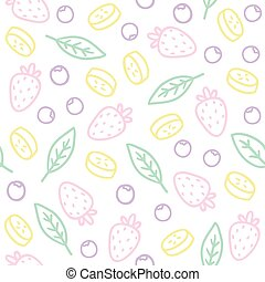 Doodle fruits, berries, leafs. Seamless pattern