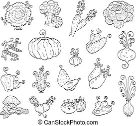 The collection of some doodle fruits and vegetables.