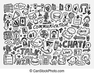 doodle, fundo, comunicação