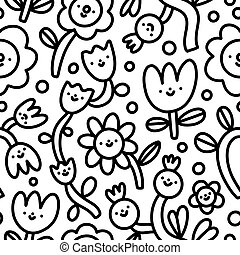 Doodle funny flowers characters, simple black and white pattern