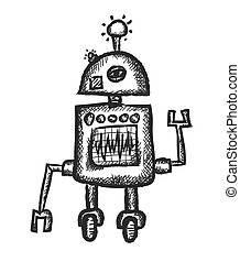 doodle funny robot, vector