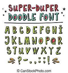 Doodle funny vector font