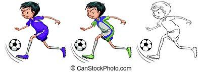 doodle, futebol, personagem, jogador