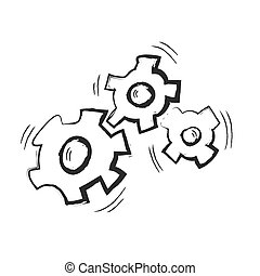 doodle gears, vector illustration
