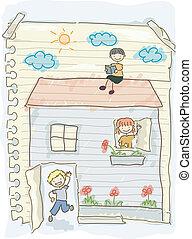 doodle, geitjes, het spelen huis