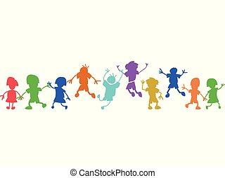 doodle, geitjes, vrolijke , kleurrijke, roeien