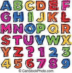 doodle, getal, kleurrijke, alfabet