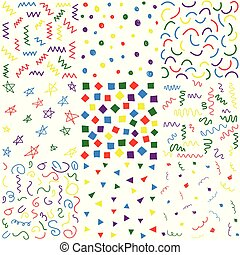 doodle, getrokken, hand, seamless, motieven