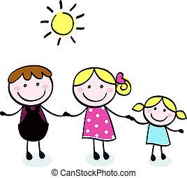 doodle, gezin, -, moeder, vader, en, geitje, isoleren, op wit