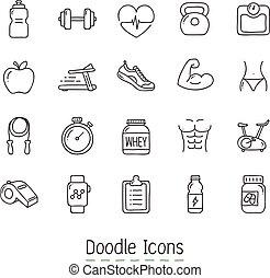 doodle, gezondheid, icons., fitness