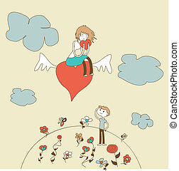 Doodle Girl Flies on the Heart over a Boy vector