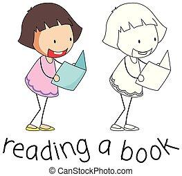 doodle, girl lezen, boek