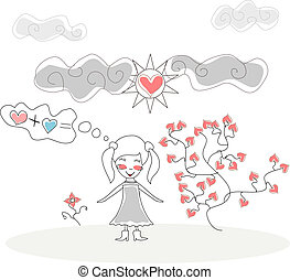 Doodle Girl standing in front Tree Flower of Hearts under the Sun and Clouds vector