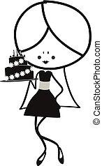 Doodle girl with birthday Cake