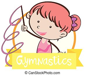 Doodle Girl with Gymnastics Sign