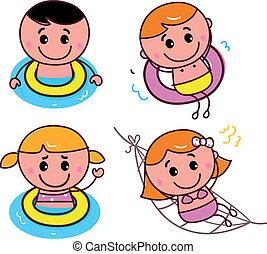 doodle, glade, svømning, børn, sæt