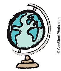 Doodle globe, vector icon